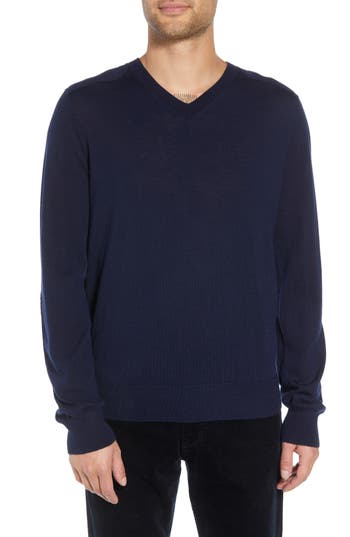 Vince Regular Fit Elbow Patch Merino Wool Sweater, Blue