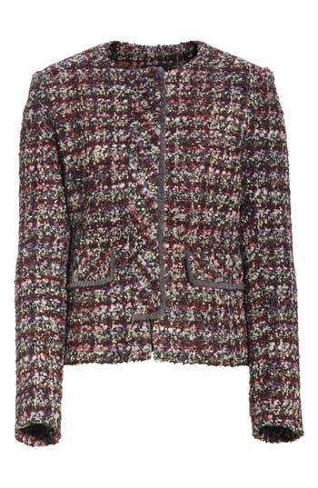 HELENE BERMAN Concealed Front Fringe Trim Jacket in Multi Tweed