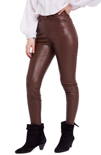 Free People Long & Lean High Waist Leggings, Brown