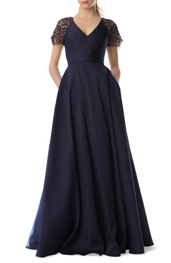 Ml Monique Lhuillier Lace Sleeve Ball Gown, Blue