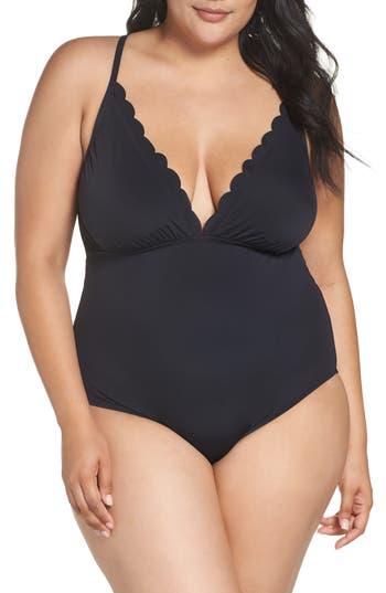 Plus Size La Blanca Petal Pusher One-Piece Swimsuit, Black