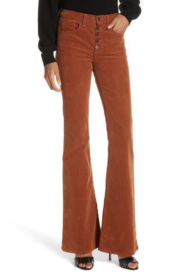Veronica Beard Beverly Corduroy Flare Pants, Brown