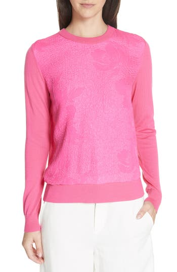 Tory Burch Floral Cloque Merino Wool Sweater, Pink