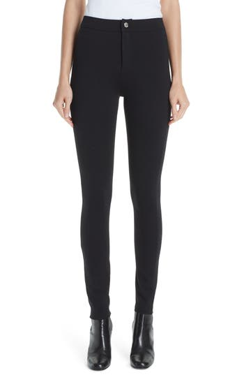 Simon Miller Logo Stitch Skinny Leggings, Black