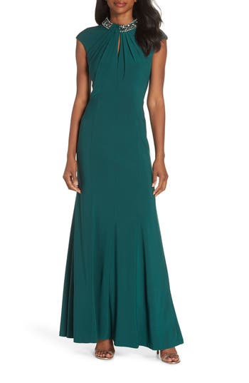 1930s Evening Dresses | Old Hollywood Dress Vince Camuto Cap Sleeve Gown Size 14P - Green $248.00 AT vintagedancer.com