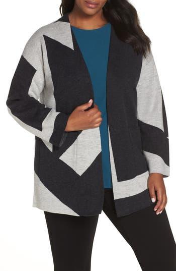 Plus Size Eileen Fisher Colorblock Merino Wool Kimono Cardigan, White