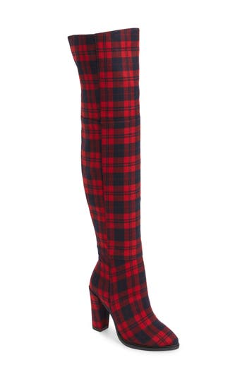 Alla Over The Knee Boot, Red Tartan