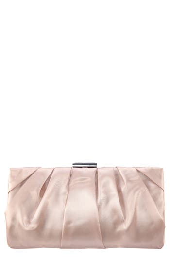 Crystal Clasp Pleated Clutch - Beige, Champagne