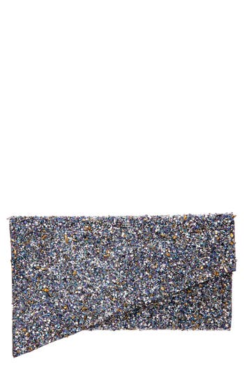 Stardust Bead Asymmetrical Envelope Clutch - Black, Black Multi