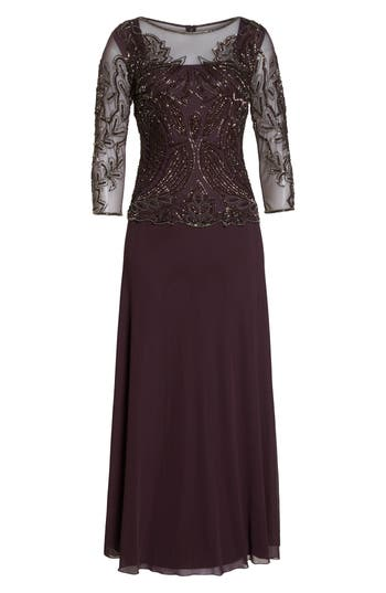 Pisarro Nights Embellished Mesh Gown, Burgundy