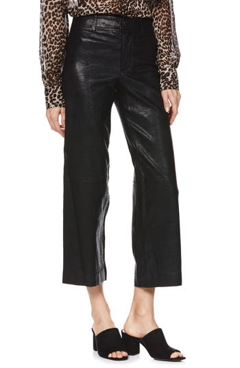 Nellie Leather Culottes, Black