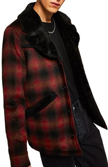 Topman Check Faux Fur Lined Rodeo Jacket
