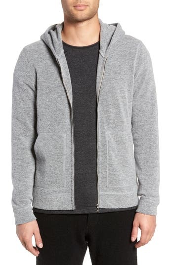 WINGS + HORNS Felted Wool Zip Hoodie in Heather Grey
