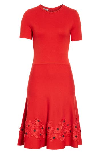Oscar De La Renta Lace Applique Wool A-Line Dress, Red