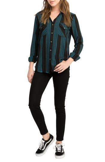 Rvca Arch Stripe Shirt, Blue