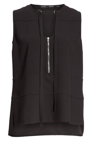 Proenza Schouler Zip Detail Blouse, Black