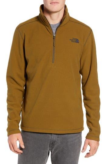 The North Face Texture Cap Rock Quarter Zip Fleece Jacket, Green