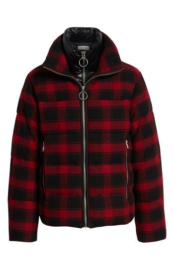 The Very Warm Plaid Wool Bib Puffer Jacket, Red