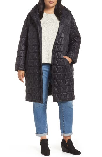 Plus Size Eileen Fisher Quilted Coat, Black