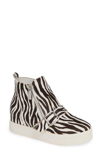 Jslides Studdie Genuine Calf Hair Sneaker, Black