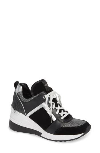 Georgie Wedge Sneaker, Black Suede