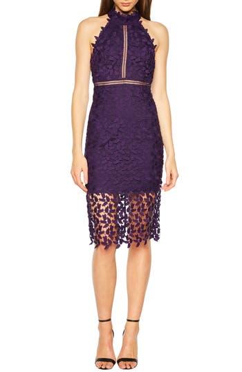 Bardot Gemma Halter Lace Sheath Dress, Purple