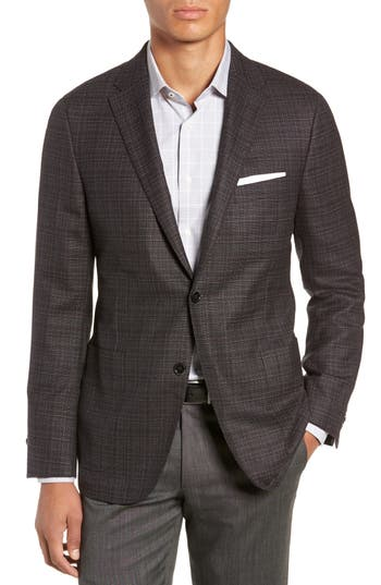 HICKEY FREEMAN Classic Fit Plaid Wool Sport Coat in Grey