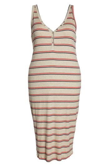 All In Favor Rib Knit Tank Dress, Beige