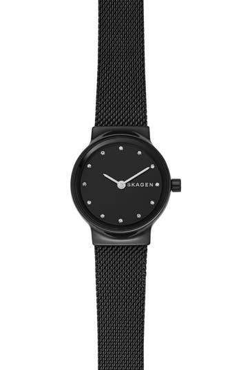 Freja Crystal Accent Mesh Strap Watch, 26Mm, Black