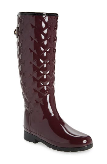 Hunter Original Refined High Gloss Quilted Rain Boot, Red
