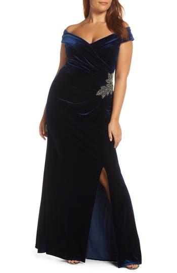 1950s Plus Size Dresses, Clothing and Costumes Womens Alex Evenings Off Shoulder Velvet Gown Size 18 - Blue $239.00 AT vintagedancer.com