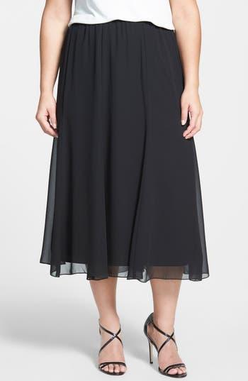 1920s Skirts, Gatsby Skirts, Vintage Pleated Skirts Plus Size Womens Alex Evenings Chiffon Skirt Size 3X - Black $69.00 AT vintagedancer.com