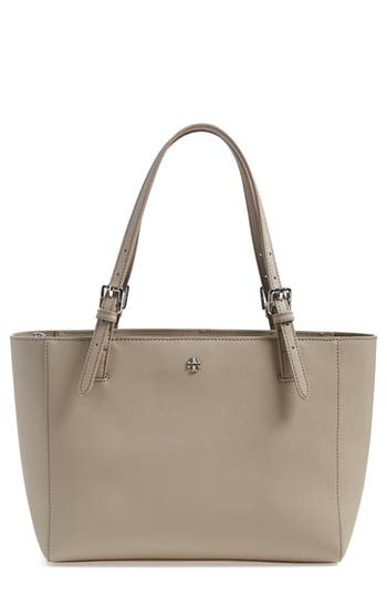 Tory Burch 'Small York' Saffiano Leather Buckle Tote - Grey