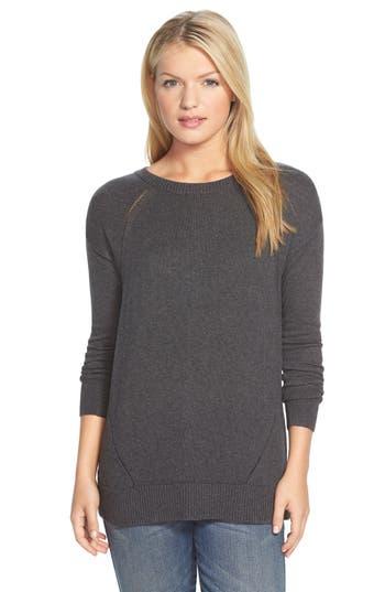 Women's Caslon Button Back Tunic Sweater, Size X-Large - Grey