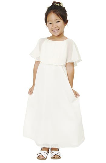 Girl's Babes Of The Nile By Joanna August Flutter Sleeve Long Chiffon A-Line Dress
