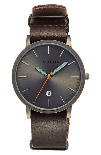 Ted Baker London Leather Strap Watch, 40Mm