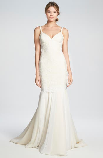 Women's Katie May 'Monaco' Lace & Chiffon Trumpet Gown