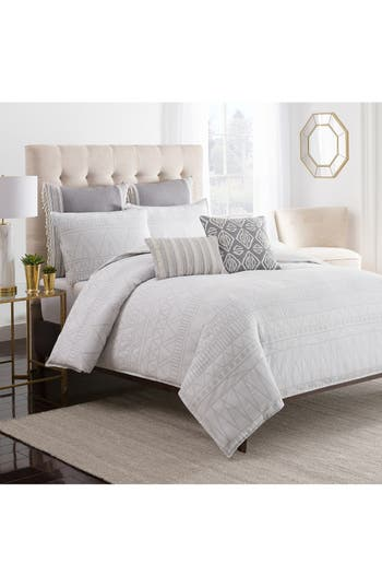 Cupcakes And Cashmere 'Moroccan Geo' Duvet Cover, Size King - White