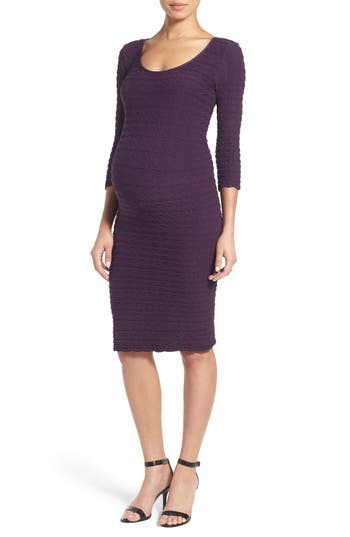 Women's Tees By Tina Crinkle Maternity Sheath Dress, Size One Size - Purple