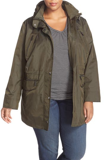 Plus Size Women's Michael Michael Kors Water Repellent Hooded Anorak
