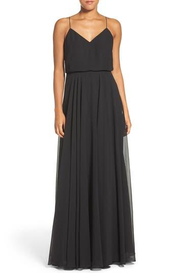 Inesse Chiffon V-Neck Spaghetti Strap Gown, Black