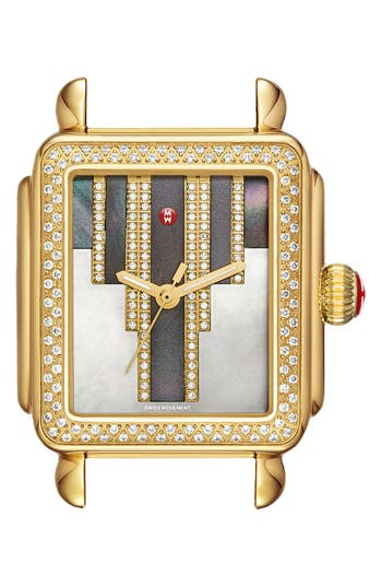 Women's Michele Deco Skyline Diamond Diamond Dial Watch Case, 33Mm