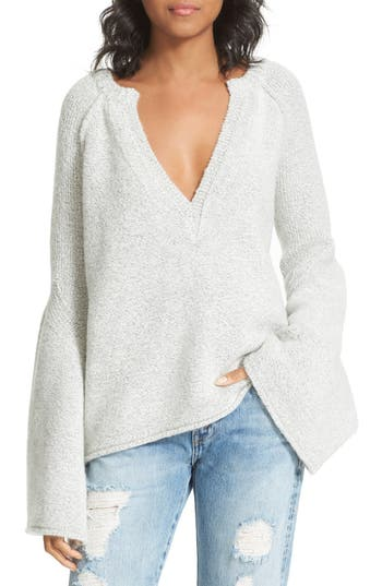 Free People Wools LOVELY LINES BELL SLEEVE SWEATER