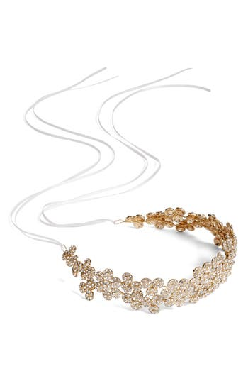 Brides & Hairpins Fiora Crystal Halo & Sash, Size One Size - Metallic