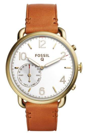 Women's Fossil Q Tailor Leather Strap Smart Watch, 40Mm