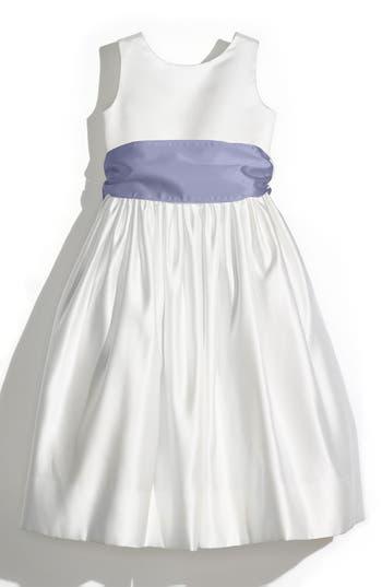 Girl's Us Angels Sleeveless Satin Dress With Contrast Sash, Size 4 - Burgundy