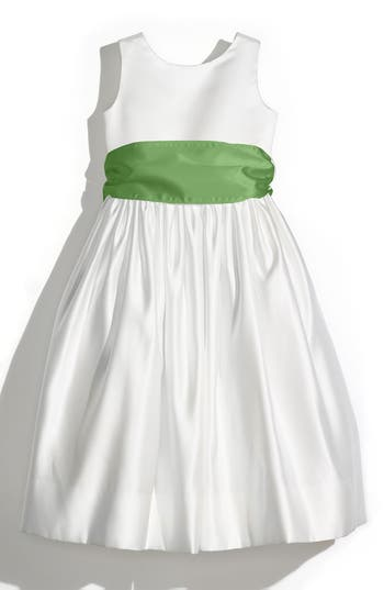 Girl's Us Angels Sleeveless Satin Dress With Contrast Sash, Size 4 - Green