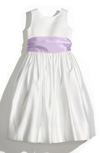 Girl's Us Angels Sleeveless Satin Dress With Contrast Sash, Size 4 - Ivory