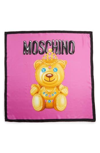Women's Moschino Bear Print Silk Scarf, Size One Size - Purple