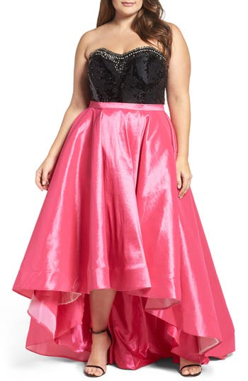 Plus Size Women's MAC Duggal Embellished Lace & Taffeta Strapless High/low Gown, Size 14W - Pink